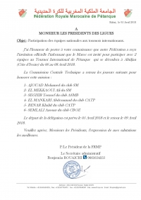 Participation deux éuipes nationales au Tournois Internationa de Pétanue à Abidjan -Côte d'Ivoire du 06 au 08/04/2018