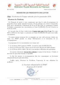 Concentration des juniors du 31/01 au 03/02/2018 à Fès