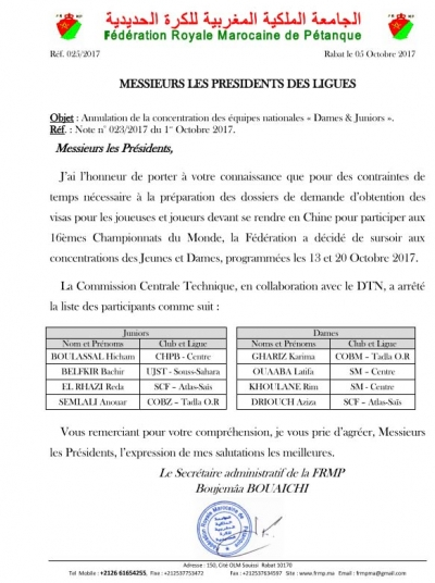 Annulation des concentrations des juniors et dames du 13 au 20/10/2017