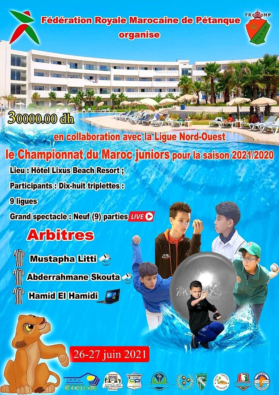 IChampionnat du Maroc Juniors 2020-2021 les 26 et 27/06/2021 à Larach