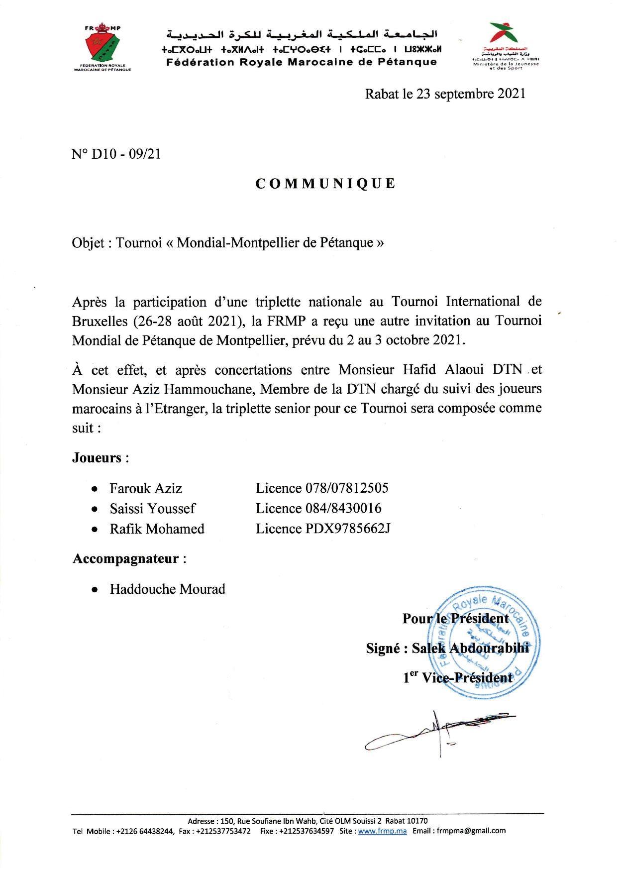 ICommunique: Participation au Mondial- Montpellier de Pétanque le 02 et 03/10/2021