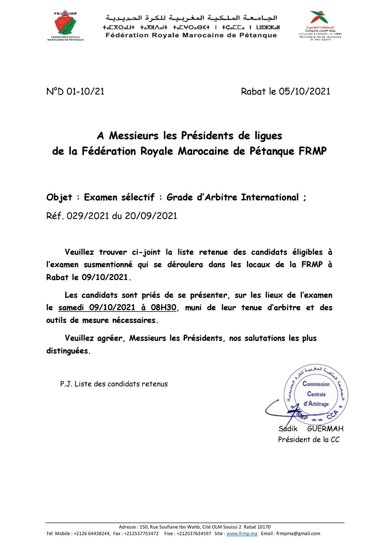 IListe des candidats retenues pour l'Examen sélectif : Grade d'Arbitre International du 09/10/2021